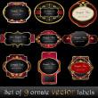 Set of elegant, dark, gold-framed labels — Stock Vector