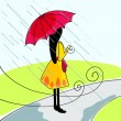 Stock Vector: Cute girl with umbrella