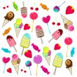 Cute retro candies background - Stock Vector
