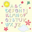 Cute summer sketchbook alphabet letters — Vettoriali Stock
