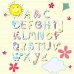 Cute summer sketchbook alphabet letters — Stock Vector
