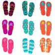 Set of cute, colorful fun flip flops — Stock Vector