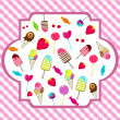Cute retro candies background — Stock Vector