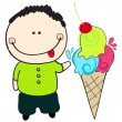 Cute summer boy with ice cream - Image vectorielle