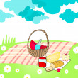 Cute summer picnic basket — Stock Vector #7091643