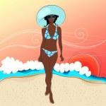 Beautiful woman on beach — Stock Vector