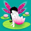 Beautiful fairy girl sitting lotus flowers — Stock Vector #7091680