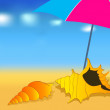 Cute summer beach — Stock Vector #7091700