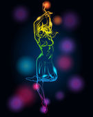 Dancing girl silhouette made of light — Stock Vector