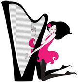 Beautiful woman playing a harp — Stock Vector