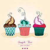 かわいいレトロなカップケーキのカード — ストックベクタ