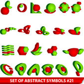 Set of red abstract symbols — Stock Vector