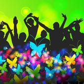 Siluetas colorida fiesta — Vector de stock