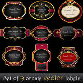 Set of elegant, dark, gold-framed labels — Stock Vector