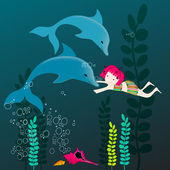 Cute dolphins and girl — Stock Vector