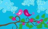 Cute birds illustration — Stock Vector