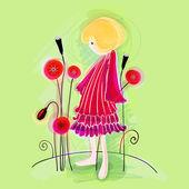 Cute floral girl — Stock Vector