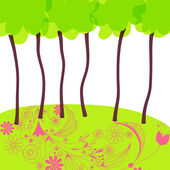 Beautiful summer forrest — Stock Vector