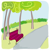 Cute bench in park — Stock Vector