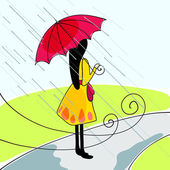 Linda chica con paraguas — Vector de stock