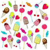 Süße retro-süßigkeiten-hintergrund — Stockvektor
