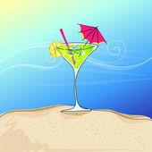 Schattig cocktailglas aan zomer kust — Stockvector