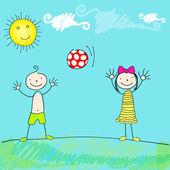 かわいい子供たちのボールで遊ぶ — ストックベクタ