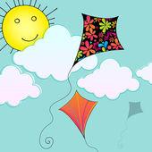 Cute hot air balloon flying in the sky — Stock Vector