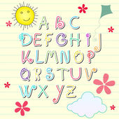 Cute summer sketchbook alphabet letters — Vettoriale Stock