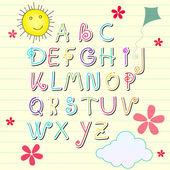 Söt sommar sketchbook alfabetet bokstäver — Stockvektor
