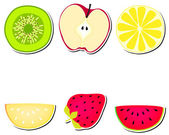 Cute stickers with fruits — Stock Vector
