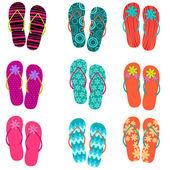 Instellen van leuke, kleurrijke plezier flip flops — Stockvector