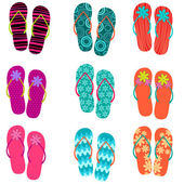 Set of cute, colorful fun flip flops — Stockvector