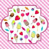 Cute retro candies background — Stock Vector