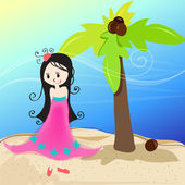 Cute girl on a tropical beach — Stock Vector