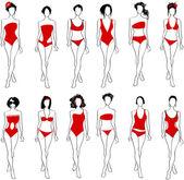 Elegant bikini women — Stock Vector