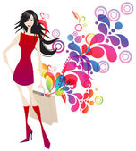 Sexy shopping girl — Stock Vector