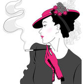 Elegant vintage fashion lady — Stock Vector