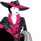 Elegant vintage fashion lady — Vector de stock