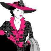 Signora elegante moda vintage — Vettoriale Stock