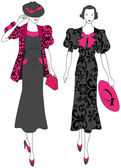 Elegant vintage fashion ladies — Stock Vector
