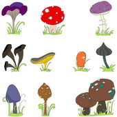 Set of cute mushroom line art — Stock Vector