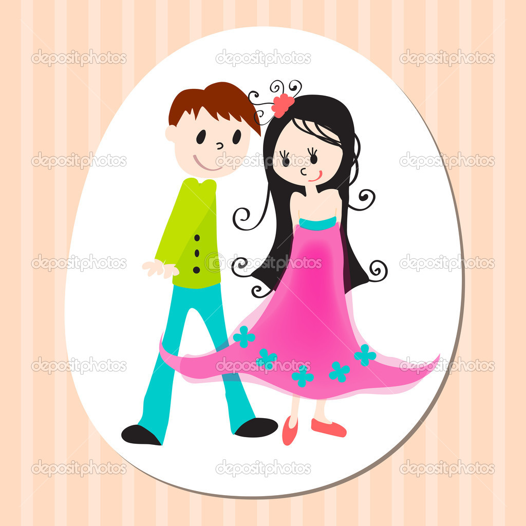 Vector illsutration of cute Valentine's Day heart with boy and girl — Stock Vector #7091438