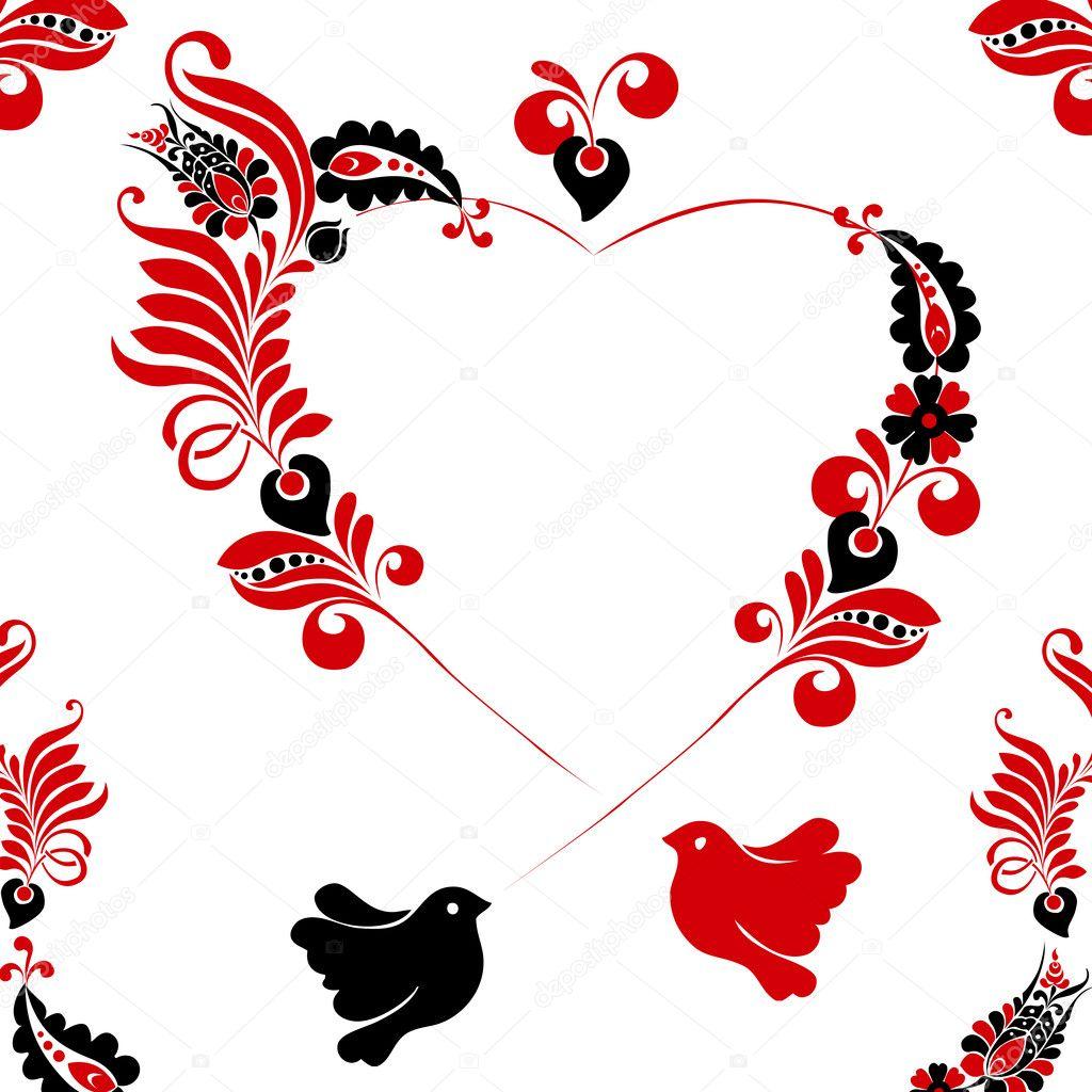Romantic floral frame illustration - Stock Illustration