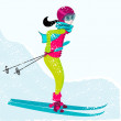 Stock Vector: Cute girl skiing