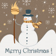 Cute Christmas greeting card with snowman — Stockvectorbeeld