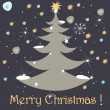 Cute Christmas greeting card - Stock Vector