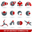 Stock Vector: Set of red abstract symbols