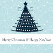 Cute Christmas tree greeting card — 图库矢量图片