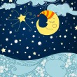 Cute winter night - Stock Vector